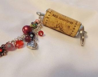 Wine cork Keychain in Red Tones