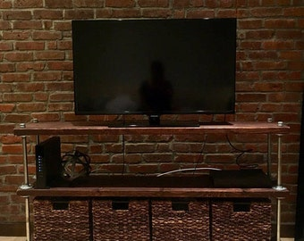 Industrial Tv Stand, Steam Punk Tv Console, Media Console, Console Table, TV Media, Reclaimed Wood