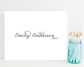 Classy, Script Customized Stationery - Black and White Personalized Stationary