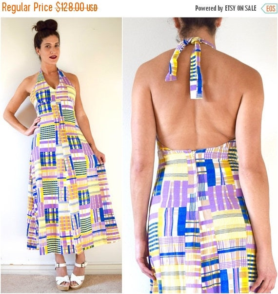 SALE SECTION / 50% off Vintage 70s Purple Yellow and Blue Plaid Empire Waist Convertible Strap Back A Line Maxi Dress (size xs, small)