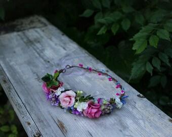 Flower hair wreath romantic flower crown wedding crown bridal headpiece woodland headwreath hair flowers boho hair accessories