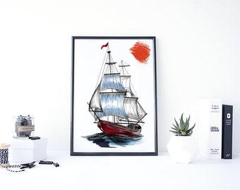 Ship Print, Ship Painting, Sail Boat Print, Boat Decor, Ship Art, Sail Boat Painting, Nautical Ship, Art Print Download, Digital Print