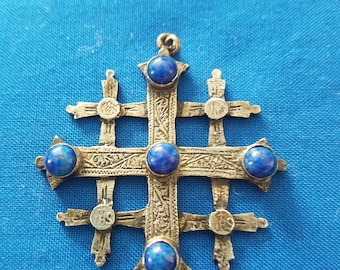 800 continental silver crusaders/jerusalem cross with lapis lazuli