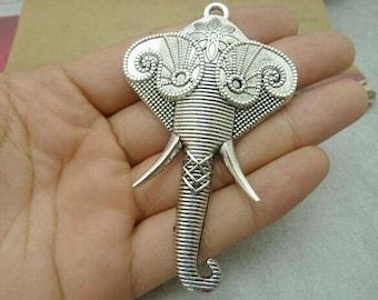 2pcs 50x82mm Antique Silver Elephant Charms Pendant