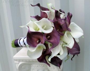 Plum Calla lily Wedding bouquet Bridal bouquet, Real touch calla lilies white plum purple