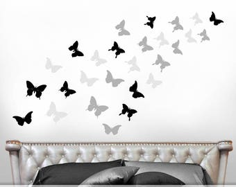 Black and White Wall Art Set of Butterfly Decals, Butterfly Decor for Girls Room, Butterflies Wall Decals, Bedroom Decor (0178c4v)