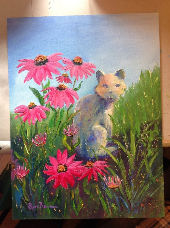 Stone Cat Painting, Red Cone Flower Painting, Cat Painting, Art for Cat Lovers