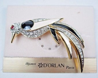 DOrlan Gold Plated Bird Brooch with Swarovski Crystals and Enamel 0513