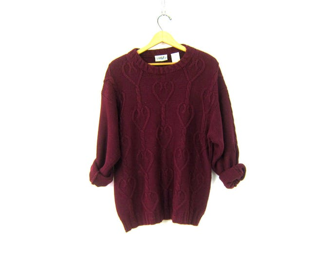 Oversized Maroon Purple Red Sweater Slouchy Knit Pullover Chunky Cotton Sweater Women's Size Medium