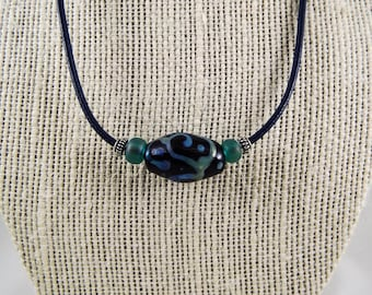 Lampwork Bead & Leather Necklace with Sterling Silver Accents WB-N104