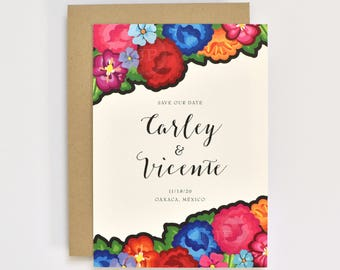 Floral Wedding Save the Dates - Colorful Oaxaca Embroidery Inspired – Modern - Hacienda Destination Wedding Save the Dates (Carley Suite)