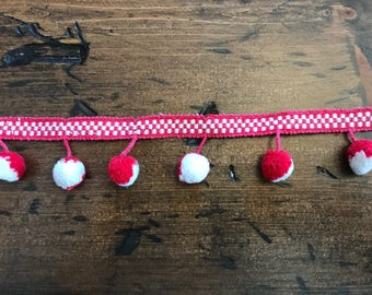 Vintage 60s Pom Pom Trim Red & White by the Yard, Craft, Pillow, Home Decor, Ugly Sweater (B925)