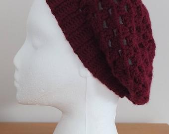 Burgundy slouchy beret by Little Gems Crochet