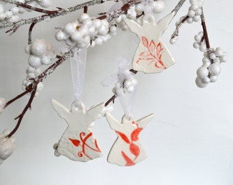 Ceramic Angel Ornaments, Imprinted Red on White, Set of Three 6503