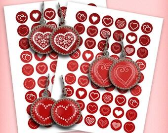 Valentine Hearts 1 inch, 20mm, 18mm, 14mm, 12mm Round images Valentines Day- Digital Collage Sheet