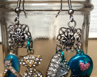 Cottage Chic Fun Earrings * repurposed vintage charms * glitter and bling * showy and fun