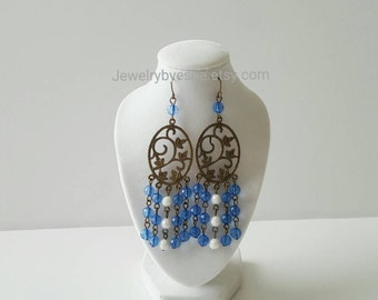 Blue Chandelier Earrings,Long Boho Earrings,Vintage Earrings,Bohemian Earrings,Dangle Earrings,Statement Earrings,Retro,Tribal,Bronze