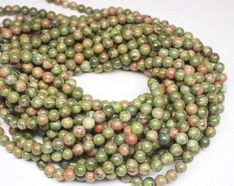 5 Strand Natural Green Unakite Smooth Round Ball Loose Beads 15 Inches 8mm - Jewelry Supplies
