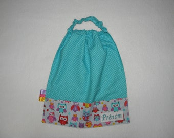 Towel native OWL printed elasticated neckline and turquoise dots