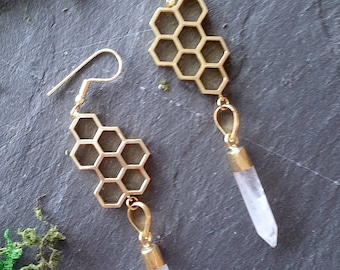 Long Polished Brass Honeycomb earrings with soft Rose Quartz facetted crystal drops