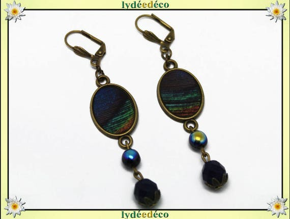 Retro earrings oval cabochon blue Peacock feather dark green brown black resin beads bronze brass glass facet pendants 20 mm x 15mm