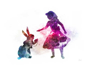 Alice in Wonderland ART PRINT illustration, Alice and White Rabbit, Wall Art, Home Decor