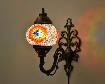 Turkish Handmade Mosaic Lamp   Sconces