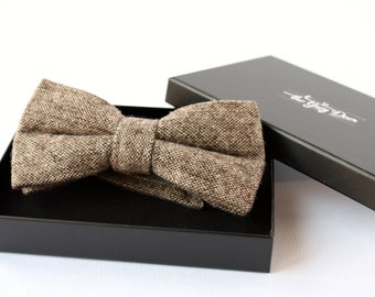Nœud Papillon en laine Tweed couleur Écorce pour homme élégant