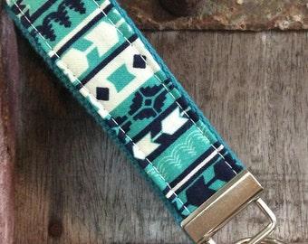 Fob keychain, Key Fob Keychain, key fob Wristlet, key lanyard-multi blue stripes on aqua blue