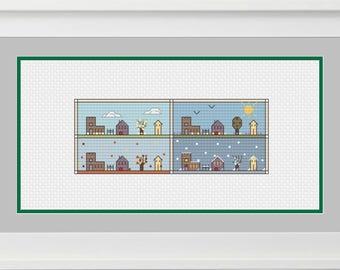 4 Seasons Miniature Houses Sampler, Housewarming gift, Modern Cross-Stitch Sampler, PDF Pattern, Digital Download