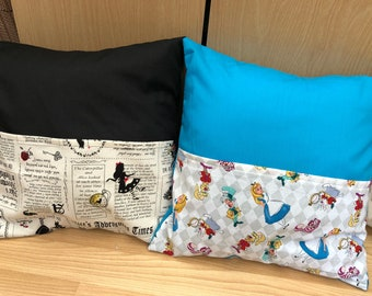 Alice in Wonderland inspired Reading Cushion in two designs featuring book characters Mad Hatter, Cheshire Cat, March Hare and White Rabbit