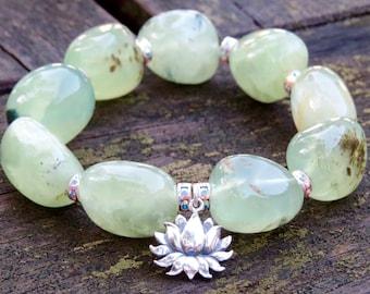 Yoga Jewelry, Yoga Bracelet, Lotus Charm, Healing Bracelet, Heart Chakra Bracelet, Chunky Prehnite, Gemstone Jewelry, Lotus Bracelet