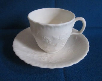 Antique Victorian English White Parian Ware Cup and Saucer