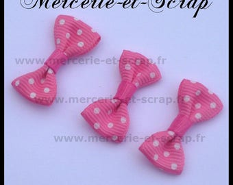 LOT 5 Appliques pink polka dot bow white grosgrain 30 Butterfly