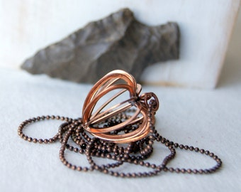 Caged Heart Necklace - vintage copper tone heart pendant with antiqued copper ball chain