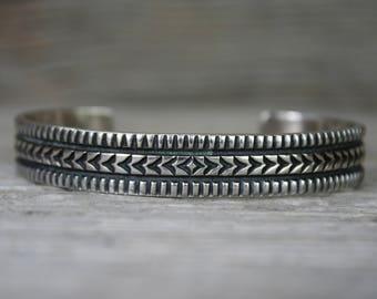 Darryl Becenti Navajo Native American Sterling Silver Stamped Cuff Bracelet