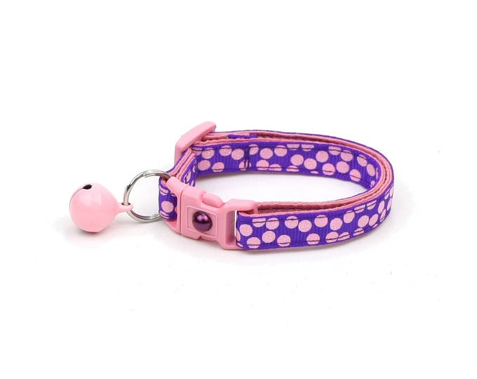 Polka Dot Cat Collar - Light Pink Dots on Purple - Breakaway Cat Collar - Kitten or Large size