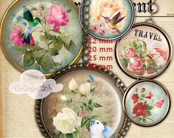 Shabby Chic Rose Bottlecap Bottle Cap Images for Jewelry Making 12 mm, 20 mm, 25 mm, 30 mm Round Circle Images 1 inch Digital Collage Sheet