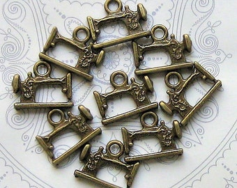 6 Sewing Machine Charms Antique Bronze Tone 3D - BC099