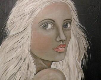 """Folk Art Portrait PRINT of Original Painting """"Rachiel"""" by Lore"""