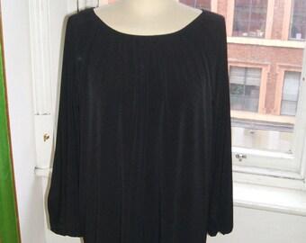 Baylis & Knight Long Sleeve SMOCK Tunic Slash Neck Dress Black Elegant Adele 70's