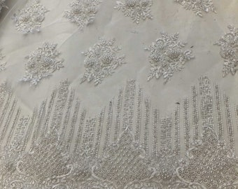 Wife of King Beaded Lace New Queen Fabric By The Yard (Ivory)