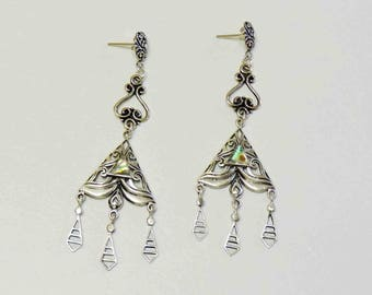 Sterling Silver Vintage Chandelier Drop Earrings With Abalone Inlay and Sterling Posts