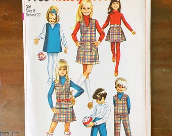 Vintage Sewing Pattern Simplicity 7785 Girl's Dress 1960s Jumper Top Pants Skirt Size 8 27