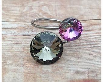 Swarovski Crystal Ring, Black Diamond Ring, Adjustable Ring, Purple Ring, Sparkly Ring, Bling Ring, Stainless Steel Ring, Hypoallergenic