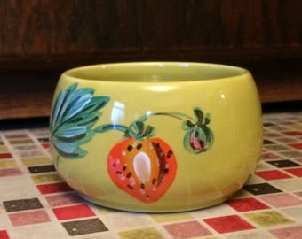 Vintage Radford Hand Painted Art Deco sugar Bowl -Beautiful Lime Green Bowl With A Strawberry Design 1930s