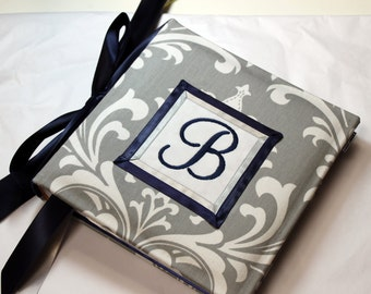 Recipe Organizer-Monogrammed White and Gray Damask Recipe Album With Custom Recipe cards and File tabs