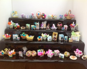 Dolls House Miniatures - 1/12th  Easter Eggs in Basket (5 variations)