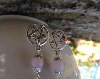 Rose Quartz Pentagram/Pentacle Pagan Earrings Gemstone Crystal Tibetan Silver Pagan/Wicca/Witch/Witcraft/Shamanism/New age/Goth/Boho