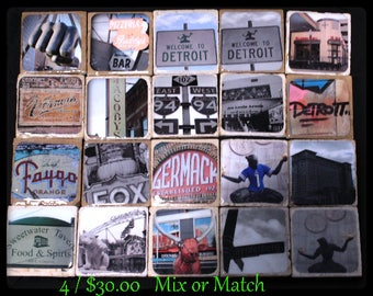 Detroit Coasters Michigan Motor City Travertine Iconic Detroit Themed 4 for 30.00 Mix or Match
